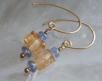 Topaz Earrings, Tanzanite Earrings,, Tanzanite and Imperial Topaz Precious Gemstone Earrings, Translucent, Gold Filled, KarenWolfeCreations