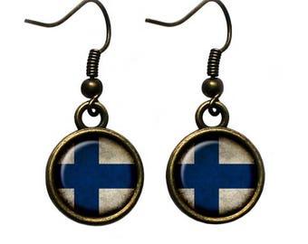 Republic of Finland Finnish Flag Earrings