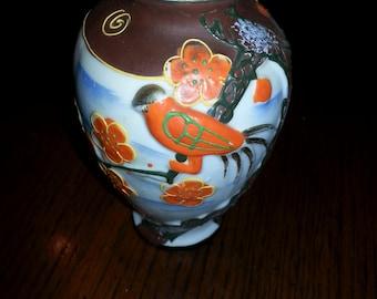 50's Ornate Hand Painted 3 D Bird Decorative Vase, Moriage Japan, Raised edges