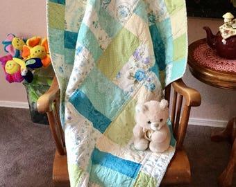 Baby Girl Quilt, Girl Baby Quilt, Quilt Baby Girl, Handmade Baby Quilt, Turquoise Quilt, Toddler Quilt, Child's Blue Quilt, Crib Quilt