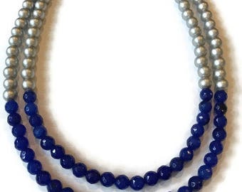 Statement Necklace - Silver and Blue Necklace - Two Strand Necklace