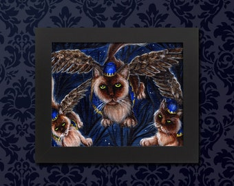 Flying Monkey Cats, Wizard of Oz Winged Cats 5x7 Archival Art Print