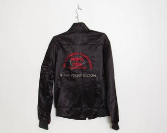 Tyson vs Berbick WBC Heavyweight Championship Jacket / Vintage 1986 Las Vegas Hilton Black Zip Up Coat RARE
