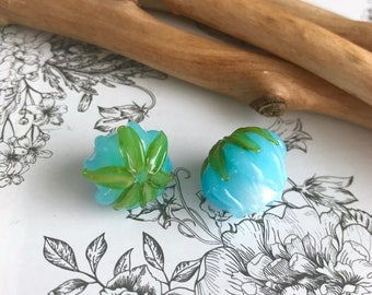 Blue Bud  rose glass bead Handmade lampwork  glass bead - Glass Bud flower Bead