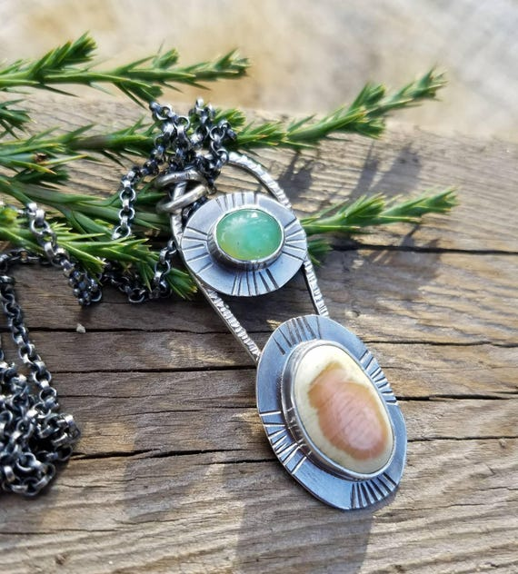 Jasper and Chrysoprase Gemstone Silver Pendant. Art Necklace. OOAK. Boho Country Girl Style with Mixed Gemstone Necklace
