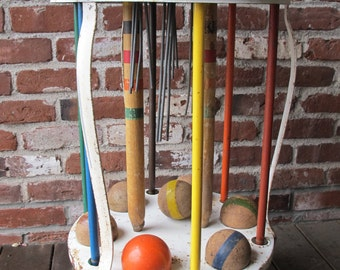 Early 1900's Croquet Set with Metal Holder and Original Colorful Equipment