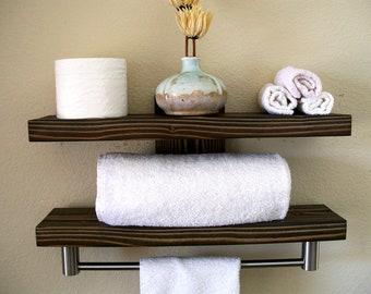 floating shelves for towels in bathroom