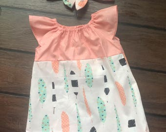 Feather and Polka Dot Baby Girl's Dress