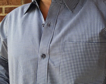 Big and Tall Men's Handmade Cotton Long Sleeve Button Down Formal Pocket Shirt - Blue Gingham- Wilson H822