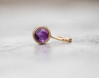Amethyst pendant in 14k gold, February birthstone, Vintage pendant, Gift for Her, Minimalistic Jewelry, Natural Gemstone Jewelry