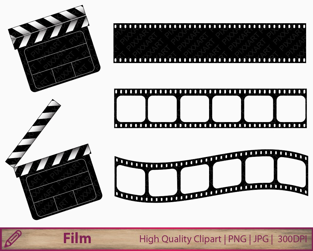 movie clipart film clapperboard clip art film strip clipart rh etsy com movie film frame clipart movie film roll clipart