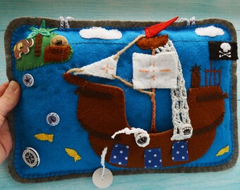 Soft Pirate Ship in the Ocean busy board, Educational felt toys, Storytelling Montessori toy, Stuffed Sensory board, Babyshower Gift idea