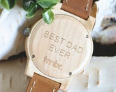 Best Dad Ever Maplewood Watch, Engraved Wood Watch, Men's Wood Watch - CST-BRLY-M-DAD