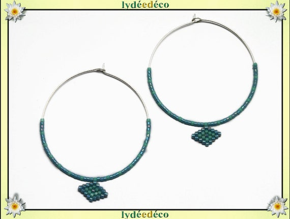 Round 925 sterling silver hoop earrings beads Japanese blue green turquoise diameter 40mm gift birthday mother's day