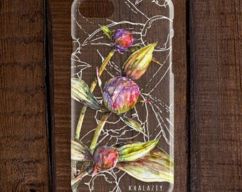 Peonies Phone Case, Flower Phone Cover, iPhone 8 Case, Gift for Her, Peony Flowers, Watercolor Botanical, Boho, Christmas Gift, Personalized
