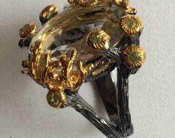 Green AMETHYST silver ring / size 59