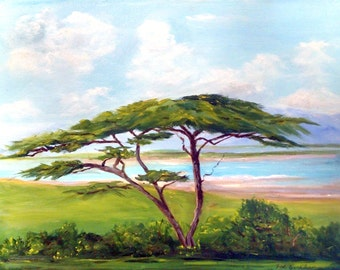 """African paintings  """"The Lone Acacia Tree""""   Paintings of Africa, landscape,Tribal Art,Landscape Painting , Landscape Painting."""