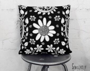 Black and White Floral Art Shabby Chic Throw Pillow Bird Art Pillow Unique Decorative Black Pillow Art Artist Throw Pillows Folk Art Pillows