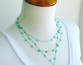 Chalcedony Briolette Simple Sterling Necklace