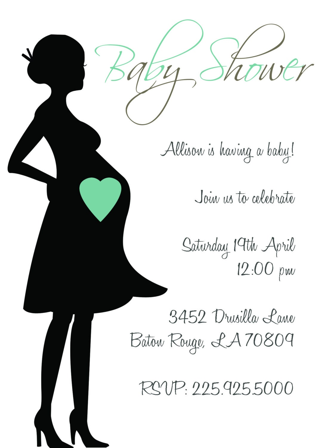 Baby shower invitations pregnant silhouette zoom filmwisefo