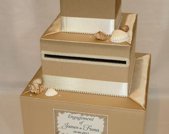 Beach theme Gold and Ivory Wedding Card Box- Sea Shells, Starfish
