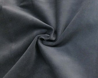 Luxurious Solid Gray 100% Cotton Velvet Velour Fabric for Upholstery Heavy Weight Curtain Drapery Material Sold by the Yard 54 inch Wide