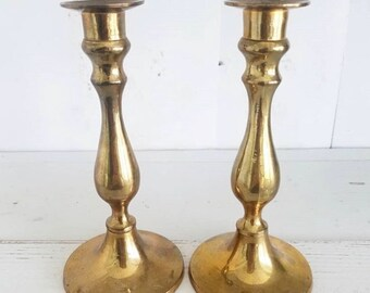 Pair of Solid Brass Candle Holders Made in India