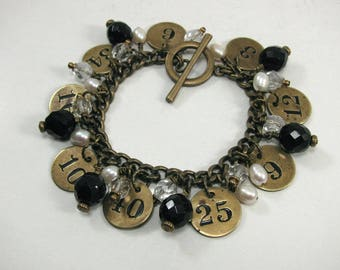 Repurposed Jewelry - Vintage Inspired - Classy Antique Brass Number Tag Charm Bracelet - Black, White Pearl, and Antique Brass -