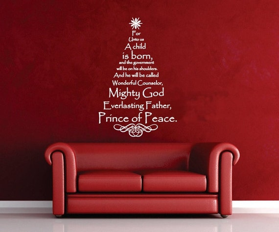 Scripture Tree Decal Christmas Tree Vinyl Wall Decal