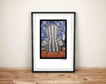 Mosaic Art Print, Glass Mosaic, Modern Home Decor, Still Life, Mosaic Wall Art, Giclee Art Print, Art Glass Mosaic, Chair Portrait