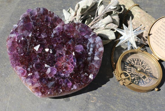 Black Amethyst & Cacoxenite Geode Heart 2.5 lbs., Raw Amethyst Heart, Black Amethyst Heart, Heart Shaped Amethyst, Super 7 Heart, Bohodecor