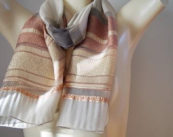Elegant Long Silk Neck Scarf Beige Brocade Ends