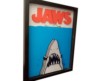 Jaws Movie Poster 3D Pop Art