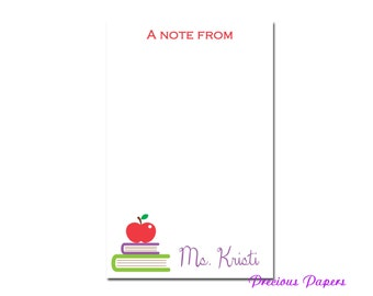 Personalized Teacher note pads with books and an apple Personalized teacher gift note pads librarian gift