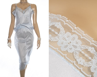 Shimmering glossy sheer silky soft pretty ice blue nylon and delicate floral lace detail 80's vintage waist slip and camisole set - S404