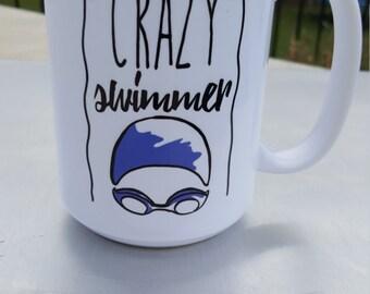 Crazy Swimmer coffee mug, swim, swimmer triathlon triathlete mug coffee mug swim  swimmer christmas gift, swim coach gift