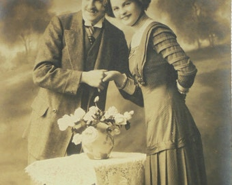 Antique French Postcard -  Couple Holding Hands