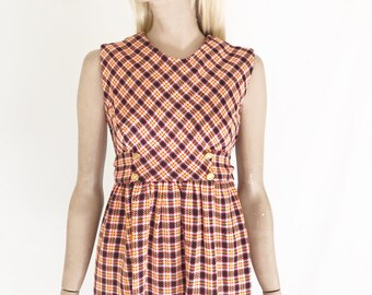 Vintage 60's Plaid Mod Jumper/ Mini Dress. Size X Small