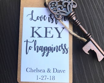 Key bottle opener wedding favors - guest favors - guest gifts - personalized favors - custom