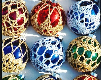 Crocheted Christmas Ornament Covers- Box of 6 Finished Product