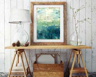 "Abstract Sea Print, Mixed Media Print, Impressionist Seascape, Ocean Landscape Print, Wall Art 8""x10"" or 11""x14""  blue green print ""Coastal"""