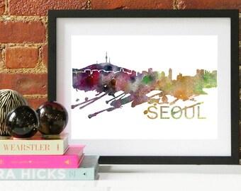 Seoul Watercolor Skyline, Seoul Skyline, Seoul Art, Seoul Poster, Seoul Print, Seoul Art, Seoul Map, Seoul Wall Art, Korea Art
