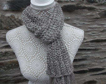 Handspun Oatmeal  and Cream BFL Scarf