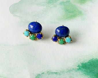 Blue Clusters Ear Posts - Blue Studs -  Vintage Ear Posts - Blue and Green Earrings - Tri Ear Posts (SD1120)