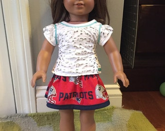 Red Patriots skirt for American Girl doll