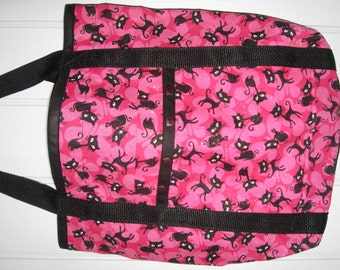 Cat-Themed Fabric Tote Bag Pink with Black Kitty Cats