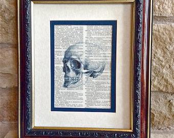 Unique Doctor Gift - Skeleton Skull Print on Vintage Dorland's Medical Dictionary Page