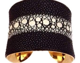 Black and White Spine Stingray Gold Cuff Bracelet - by UNEARTHED