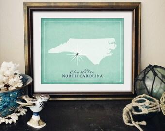Charlotte North Carolina Print, NC State Print, Nautical Carolina Gift, Charlotte Heart or Star Print, State Print