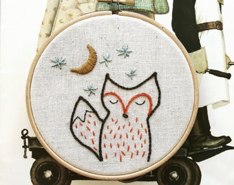 hand embroidery pattern   embroidery pattern   modern embroidery   DIY embroidery   foxy night